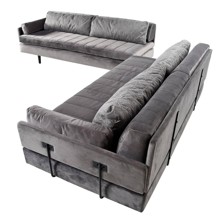 Bespoke Mid-Century Modern modular daybed sofa set. Custom design re-purposing vintage Mid-Century Modern platform daybeds, the remainder of sofa is completely custom built and refabricated, new mattress, back bolsters and cushions, newly recovered