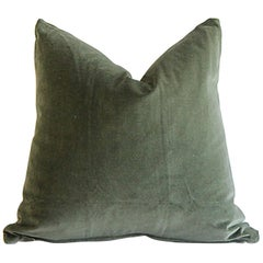 Custom Made Moss Green Cotton Velvet and Linen Decorative Pillows