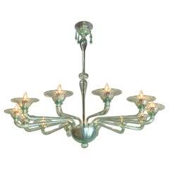 Custom Made Murano Glass Chandelier with 12-Light