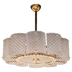 Custom Made Murano Ivory Pearlized Glass and Brass Round Chandelier, Italy