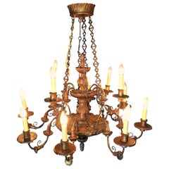 Custom Made Neo-Classic English 12 Arm Wood and Iron Chandelier