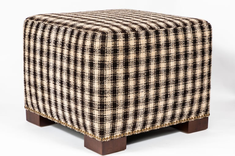 Ottomans Deacon Beige Upholstered Blanket Box: Custom Made Ottoman Upholstered With A Vintage Wool And