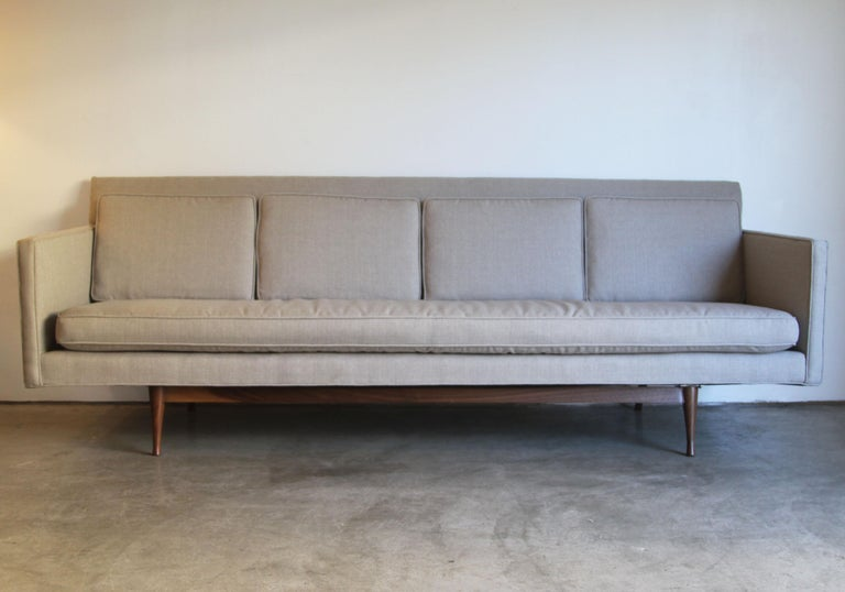 Mid-Century Modern Custom Made Paul McCobb Sofa Recently Reupholstered For Sale