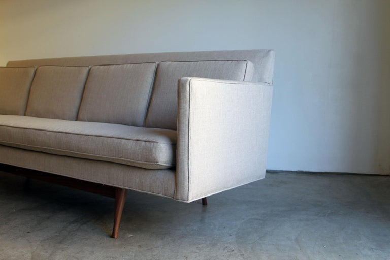 Acrylic Custom Made Paul McCobb Sofa Recently Reupholstered For Sale