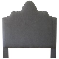 Custom Made Queen Size Dark Grey Linen Headboard