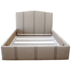 Custom Made Queen Size Linen Stripe Upholstered Bed