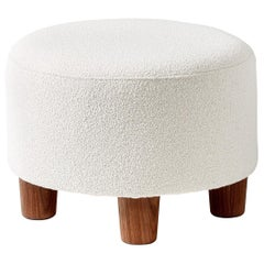 Custom Made Round Boucle Ottoman with Walnut Legs