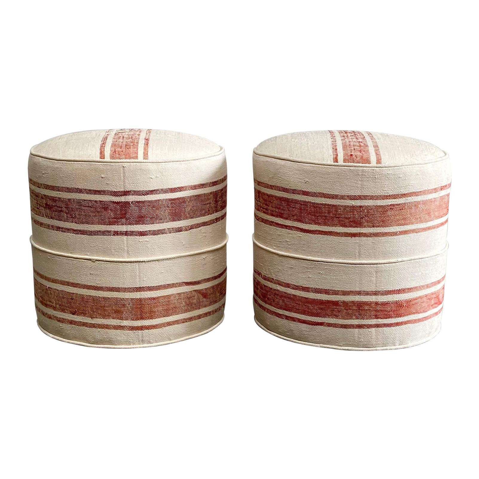Custom Made Round Ottomans from a Woven Sabra Silk Rug
