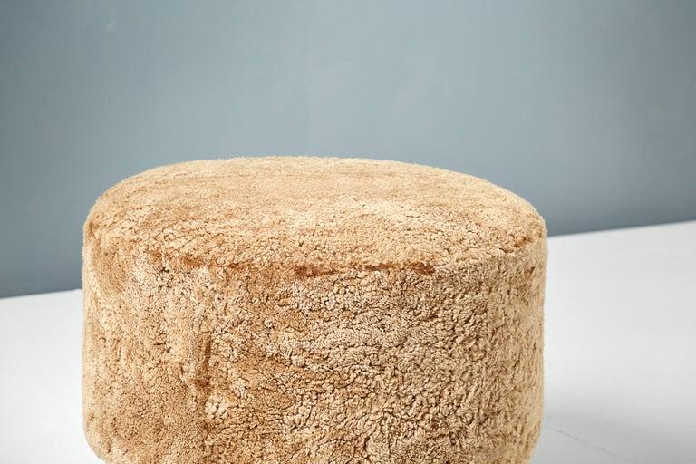 Scandinavian Modern Custom Made Round Sheepskin Ottoman with Oak Ball Feet For Sale