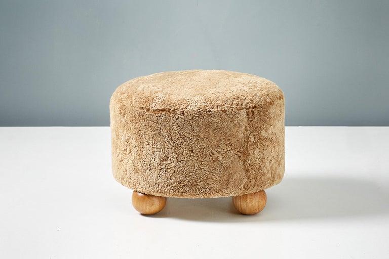 Contemporary Custom Made Round Sheepskin Ottoman with Oak Ball Feet For Sale
