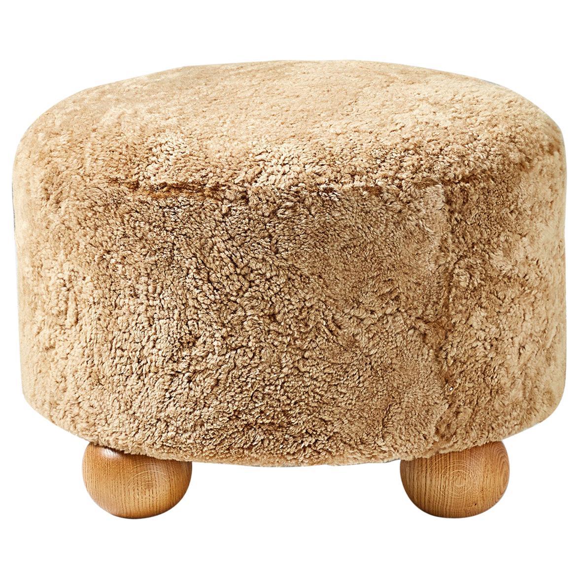 Custom Made Round Sheepskin Ottoman with Oak Ball Feet