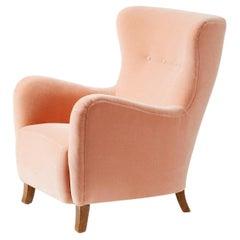 Custom Made Sampo Mohair Velvet Wing Chair