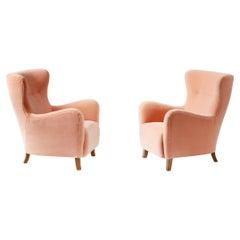 Custom Made Sampo Mohair Velvet Wing Chairs
