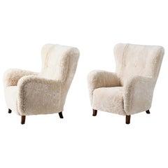 Custom Made Sampo Sheepskin Wing Chairs