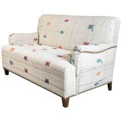 Custom-Made Settee, Upholstered in a Vintage Flat-Weave Kilim Rug