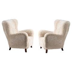 Custom Made Sheepskin Wing Chairs