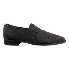 CUSTOM MADE Size 10 Black Textured Stingray Slip On Loafers