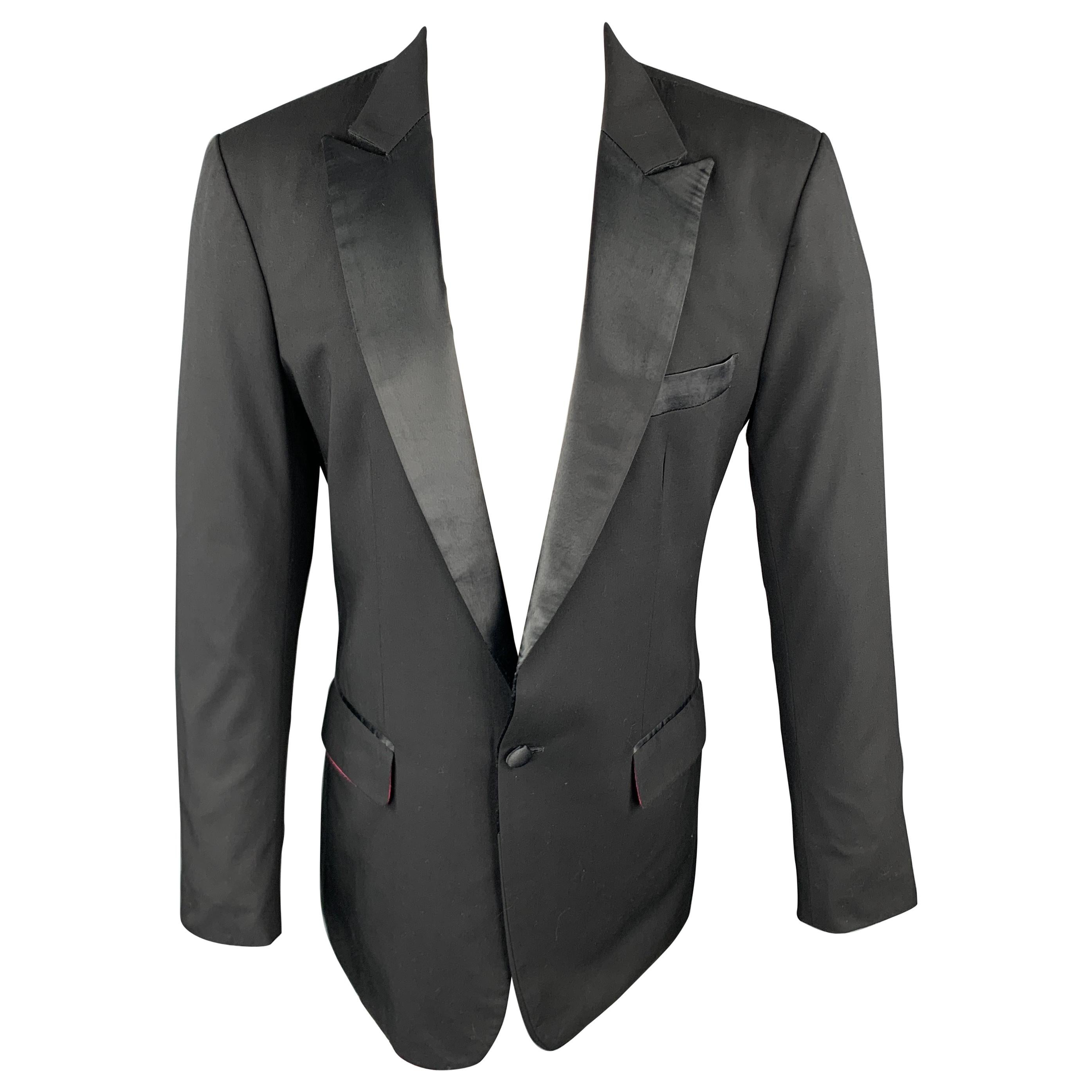 CUSTOM MADE Size 38 Black Solid Wool Peak Lapel Sport Coat