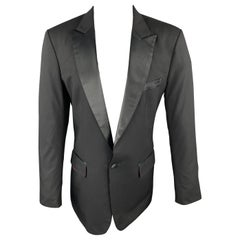 CUSTOM MADE Size 38 Black Solid Wool Peak Lapel Sport Coat