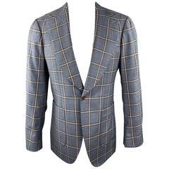 CUSTOM MADE Size 38 Blue & Brown Plaid Wool Peak Lapel Patch Pockets Sport Coat