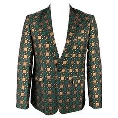 CUSTOM MADE Size 40 Green & Gold Jacquard Notch Lapel Sport Coat
