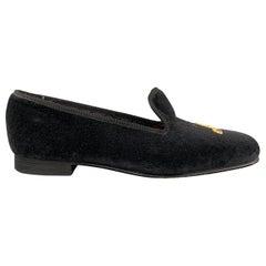 CUSTOM MADE Size 8 Black Embroidery Velvet Slippers Loafers