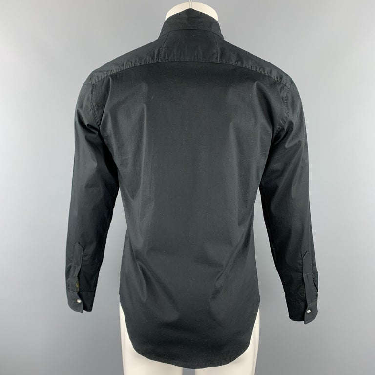 Men's CUSTOM MADE Size S Black Embroidery Cotton Button Up Stripe Trim Shirt For Sale