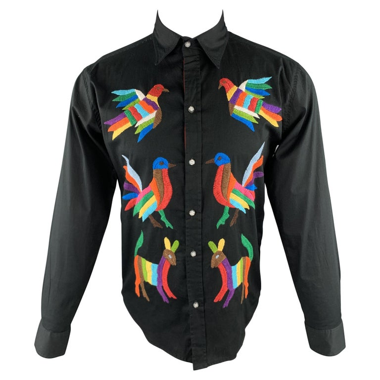 CUSTOM MADE Size S Black Embroidery Cotton Button Up Stripe Trim Shirt For Sale