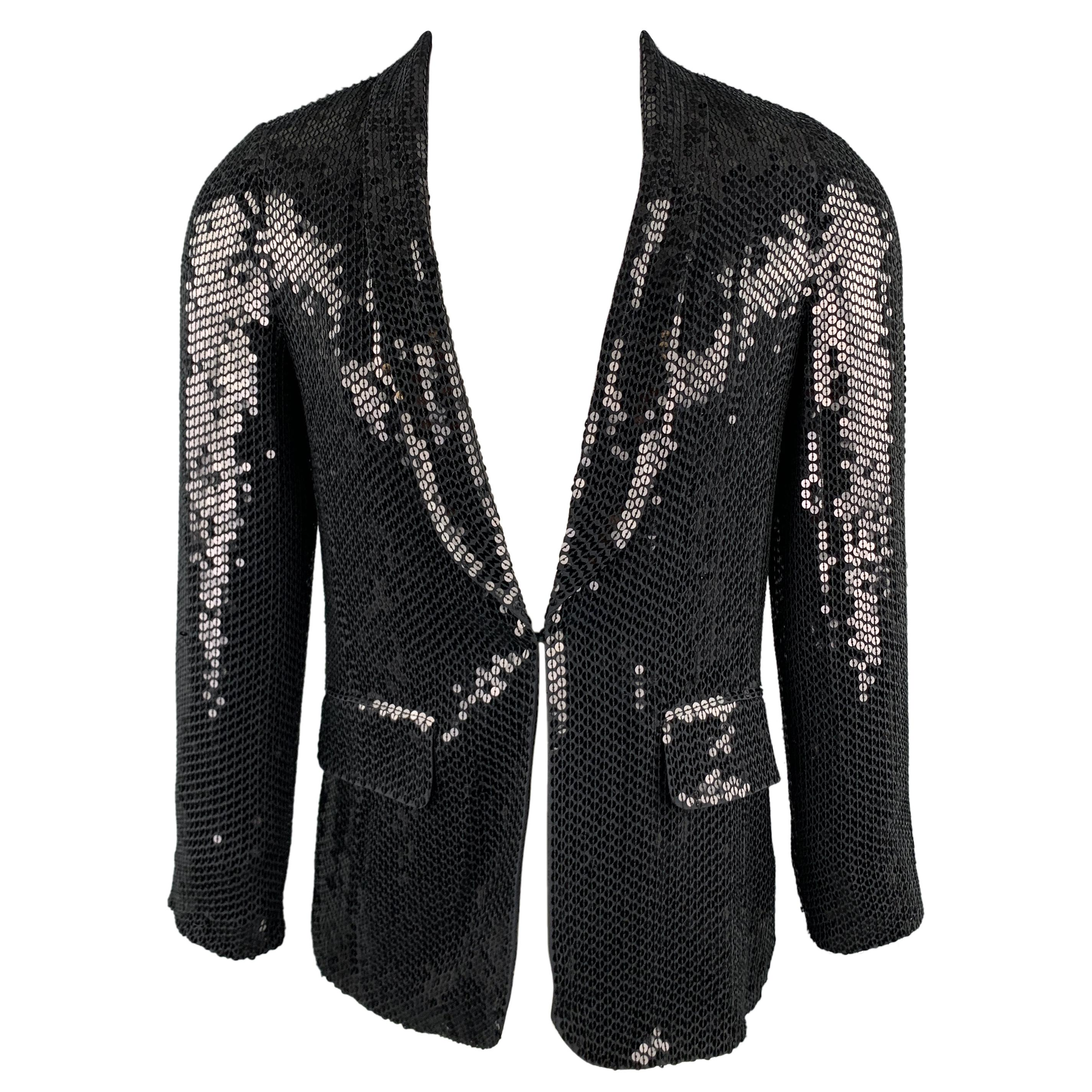 CUSTOM MADE Size XS Black Sequined Shawl Collar Silk Hook & Eye Sport Coat