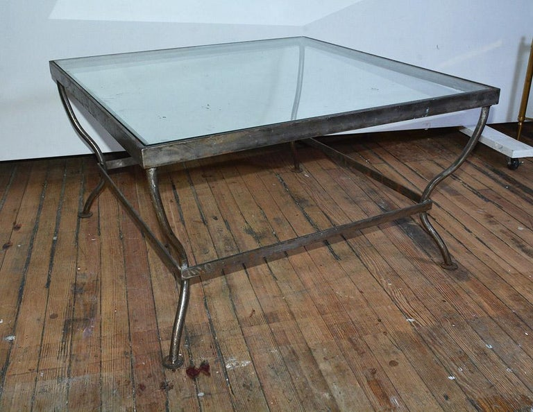 Mid-Century Modern Custom Made Square Glass and Polished Iron Coffee Table by BH & A For Sale