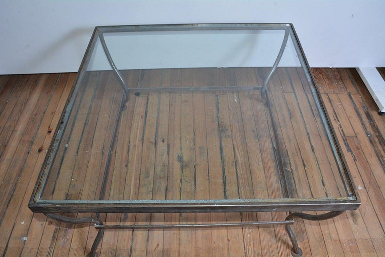 American Custom Made Square Glass and Polished Iron Coffee Table by BH & A For Sale
