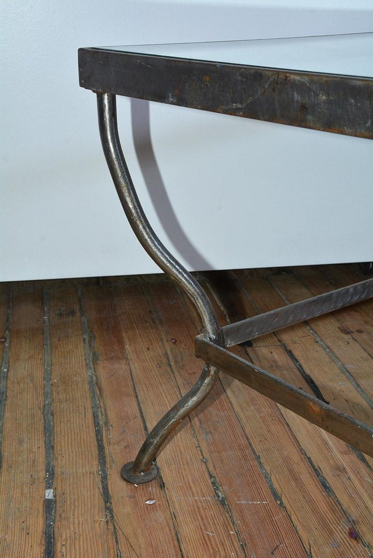 Custom Made Square Glass and Polished Iron Coffee Table by BH & A In Good Condition For Sale In Great Barrington, MA