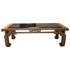 Custom Made Steve Chase Modern Chinoiserie Granite Top Coffee Table