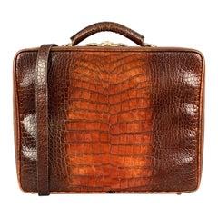 CUSTOM MADE Tan Ombre Alligator Embossed leather Shoulder Strap Briefcase