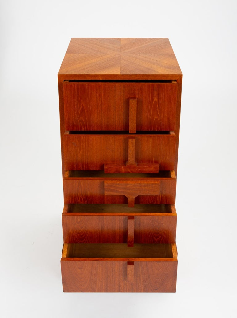 Custom-Made Teak Chest of Drawers with Sloped Sides For Sale 3