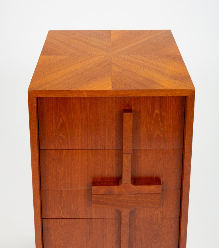 Custom-Made Teak Chest of Drawers with Sloped Sides For Sale 4