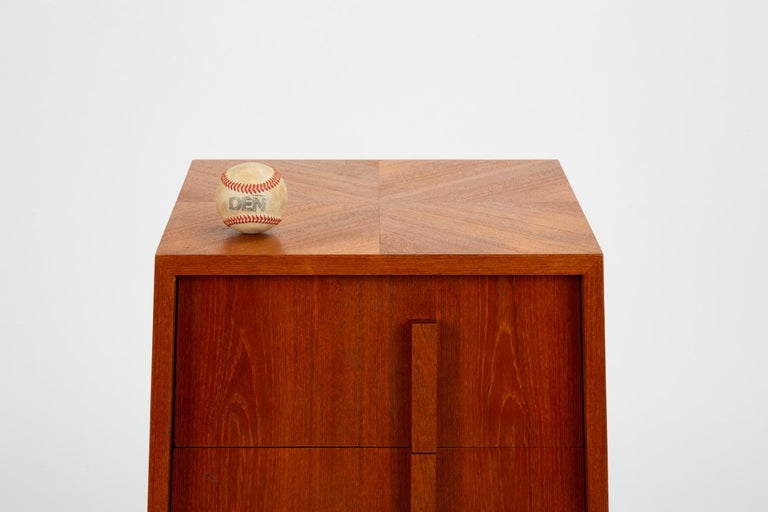 Custom-Made Teak Chest of Drawers with Sloped Sides For Sale 5