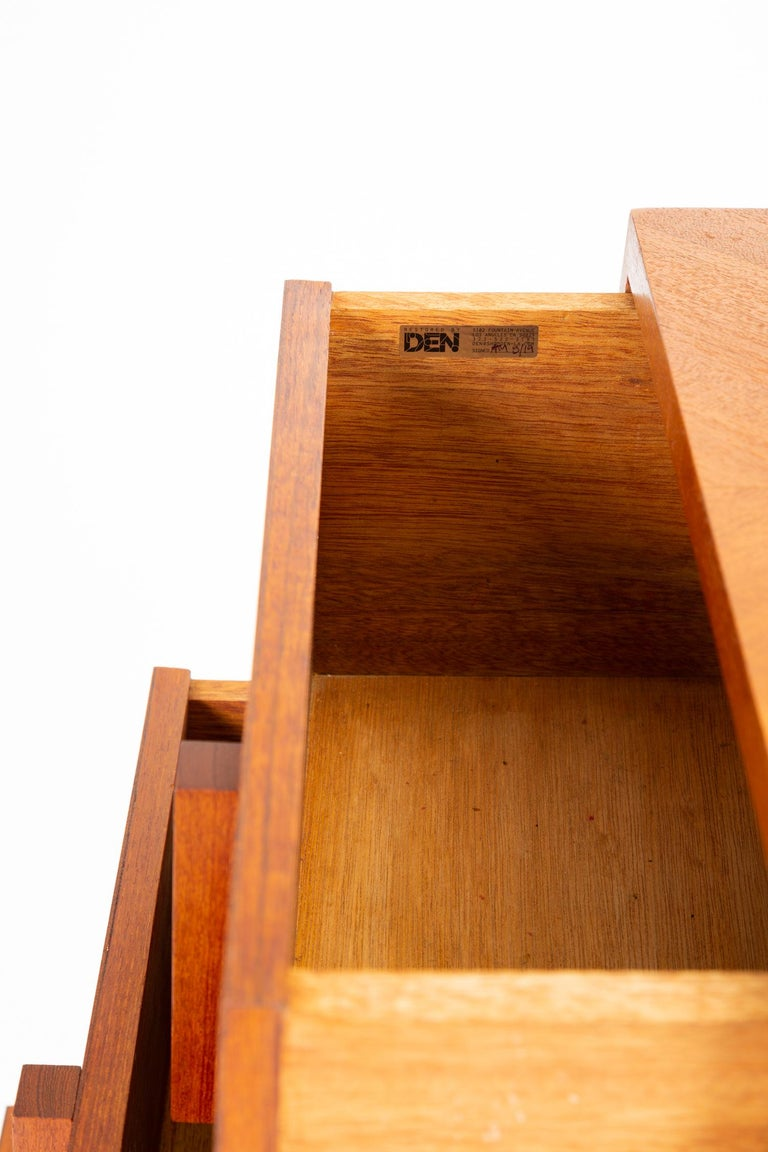 Custom-Made Teak Chest of Drawers with Sloped Sides For Sale 8