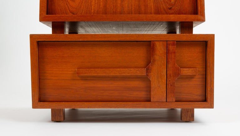 Custom-Made Teak Chest of Drawers with Sloped Sides For Sale 9