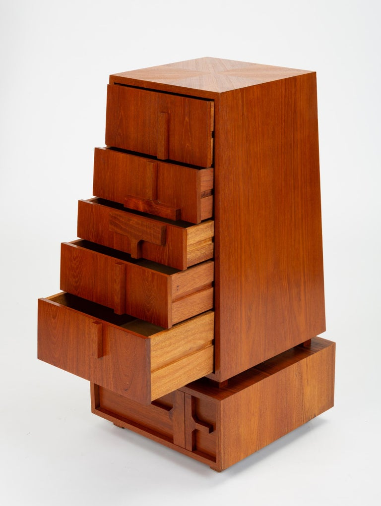 Custom-Made Teak Chest of Drawers with Sloped Sides For Sale 10