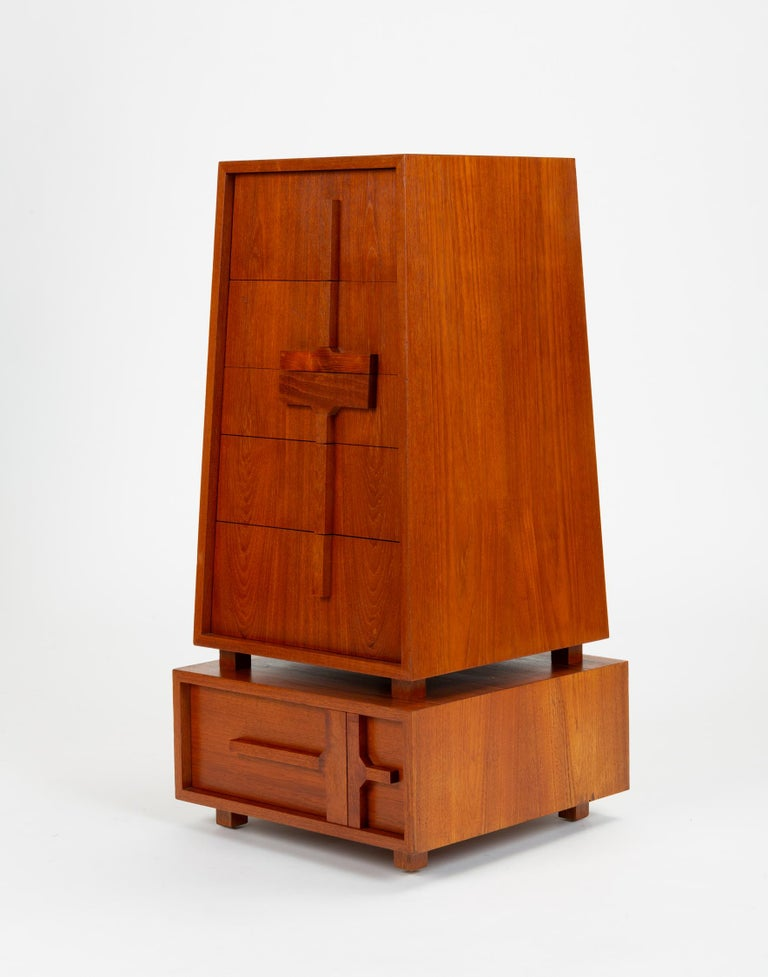 Mid-Century Modern Custom-Made Teak Chest of Drawers with Sloped Sides For Sale