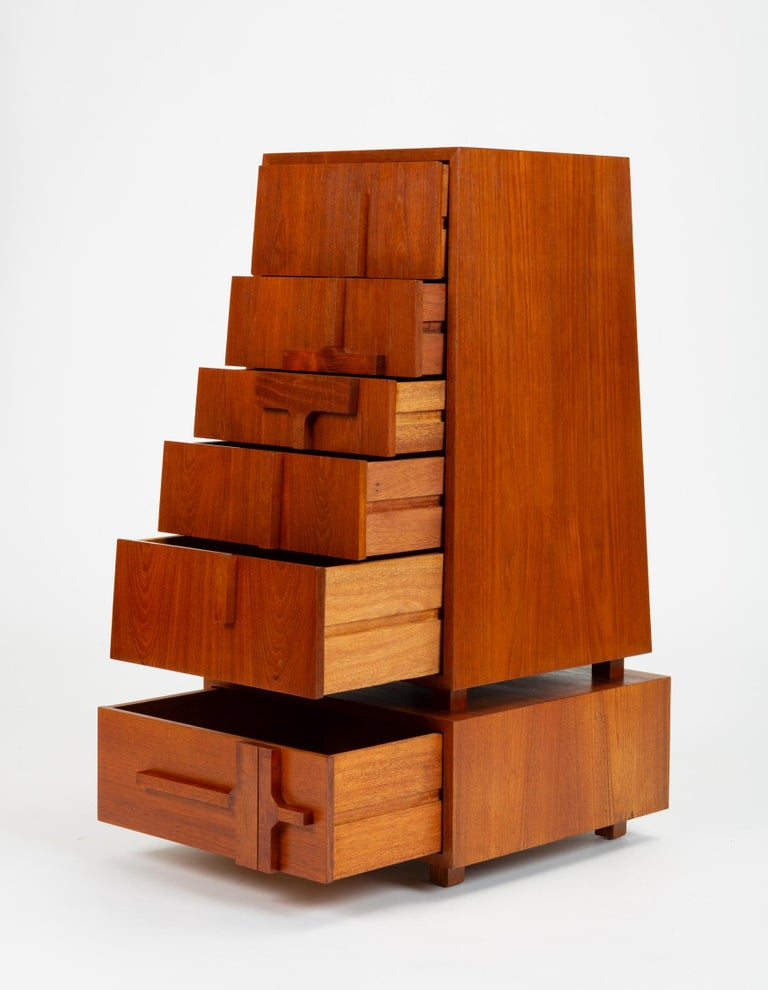 American Custom-Made Teak Chest of Drawers with Sloped Sides For Sale
