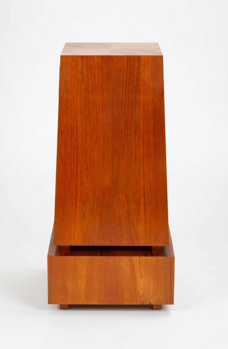 Veneer Custom-Made Teak Chest of Drawers with Sloped Sides For Sale