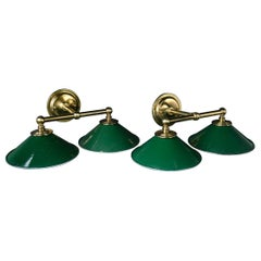 Custom Made Two-Arm Brass Sconces with Vintage Green Enamel Shades