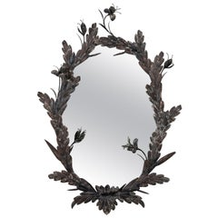 Custom Made Vintage Oval Tole Floral Mirror
