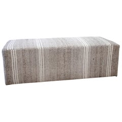 Custom Made Vintage Turkish Rug Rectangle Cocktail Ottoman Coffee Table