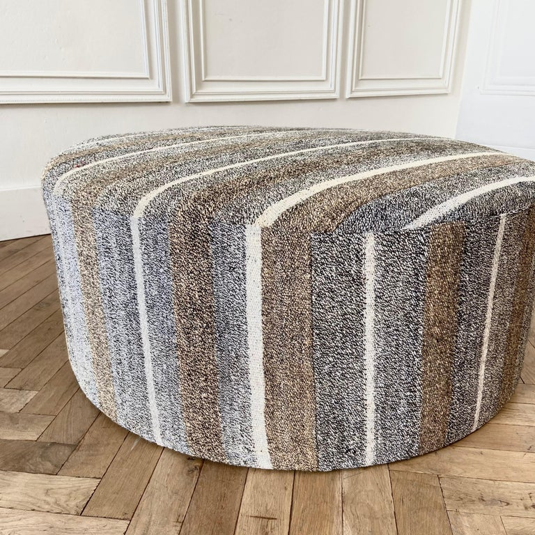 20th Century Custom Made Vintage Turkish Rug Round Cocktail Ottoman Coffee Table For Sale