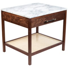 Custom-Made Walnut End Table with a Marble Top and Caned Bottom Shelf