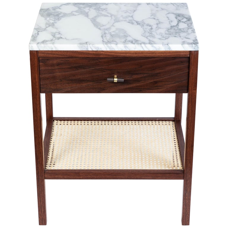 Custom Made Walnut Night Stand With A Marble Top And Caned Bottom Shelf For