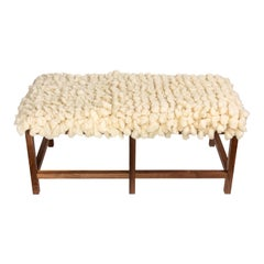 Custom Made Walnut Wood Frame Bench Upholstered in a New Alpaca Tufted Wool Rug